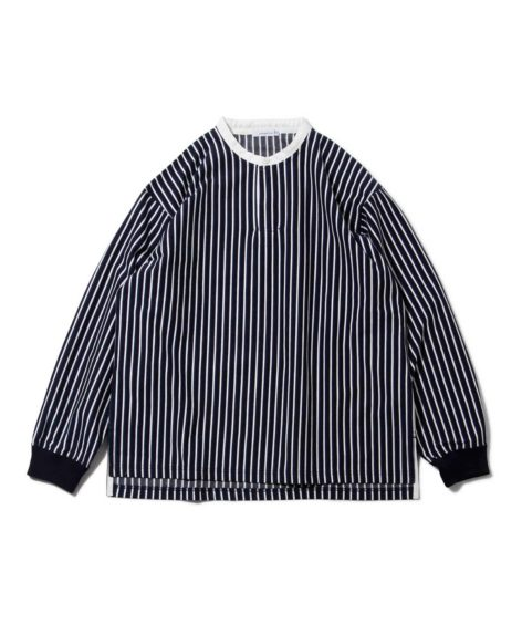 nanamica / Vertical Stripe Band Collar Shirt SALE