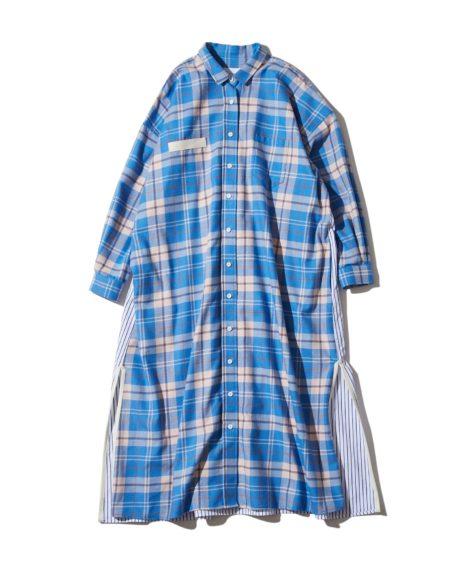 F/CE.® SWITCHING CHECK LONG SHIRT/ エフシーイー スウィッチング チェック ロングシャツ SALE