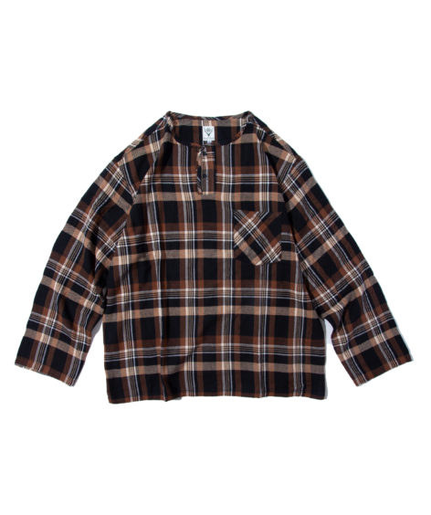 South2 West8 HENLEY NECK SHIRT-PLAID TWILL / サウスツーウエストエイト ヘンリーネックシャツ – プレイドツイル