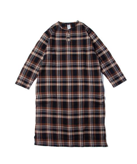 South2 West8 HENLEY NECK SHIRT DRESS-PLAID TWILL / サウスツーウエストエイト ヘンリーネックシャツドレス – プレイドツイル